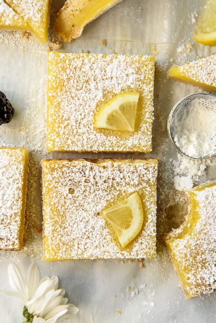 Top shot of classic Lemon Bars