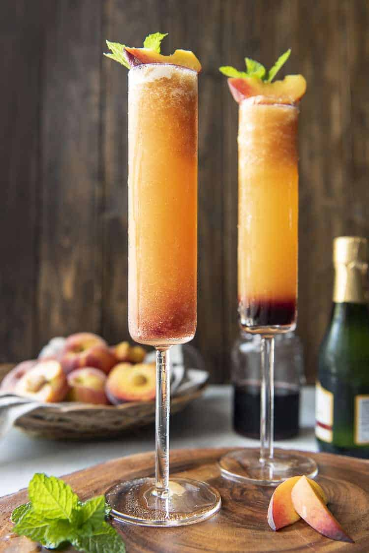 Side shot of Frozen Peach Bellini with grenadine