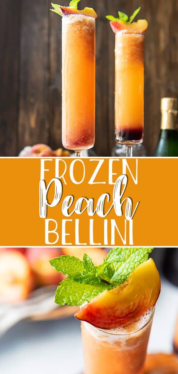 Celebrate summer's favorite fruit with the best Frozen Peach Bellini! This brunch-perfect 4-ingredient cocktail is dressed up with a splash of grenadine, and will be welcomed any time of the day - even in the middle of winter.