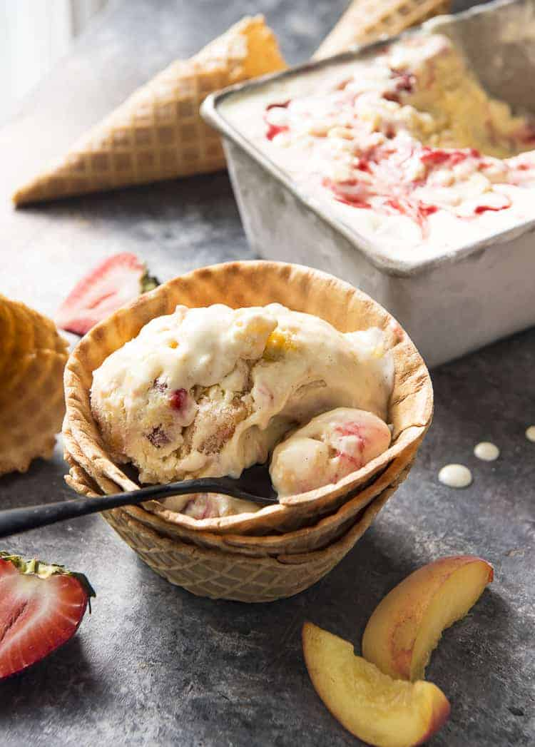 Strawberry Peach Ice Cream in a waffle bowl