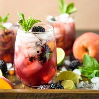 Blackberry Peach Bourbon cocktails