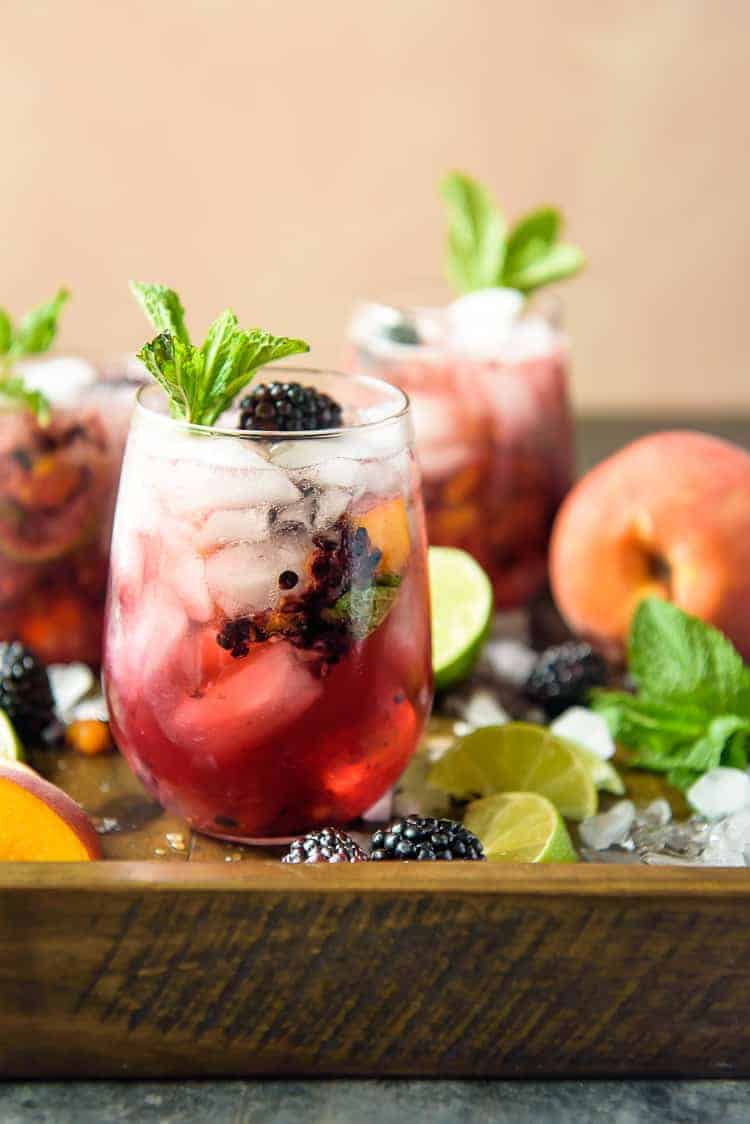 Blackberry Peach Bourbon cocktails