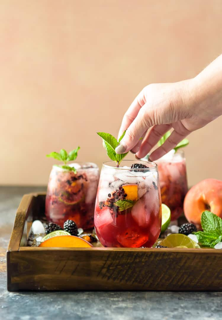 Blackberry Peach Bourbon drinks