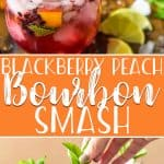 Calling all bourbon lovers: this Blackberry Peach Bourbon Smash is THE cocktail of the summer! Oaky bourbon whiskey teams up with fresh peaches, blackberries, mint, and lime juice for a fizzy refreshing sip you'll look forward to all winter long.