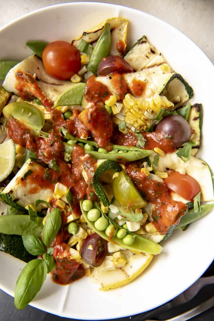 low carb salad with grilled zucchini and corn