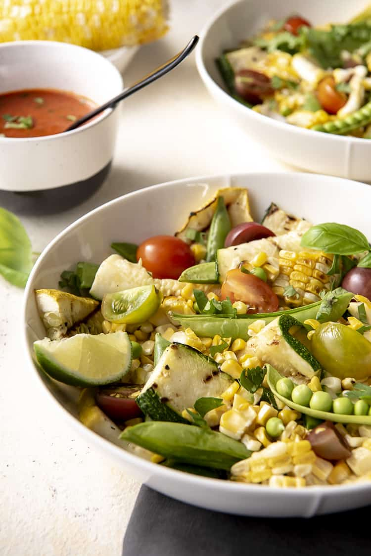 keto salad recipe with grilled zucchini and corn