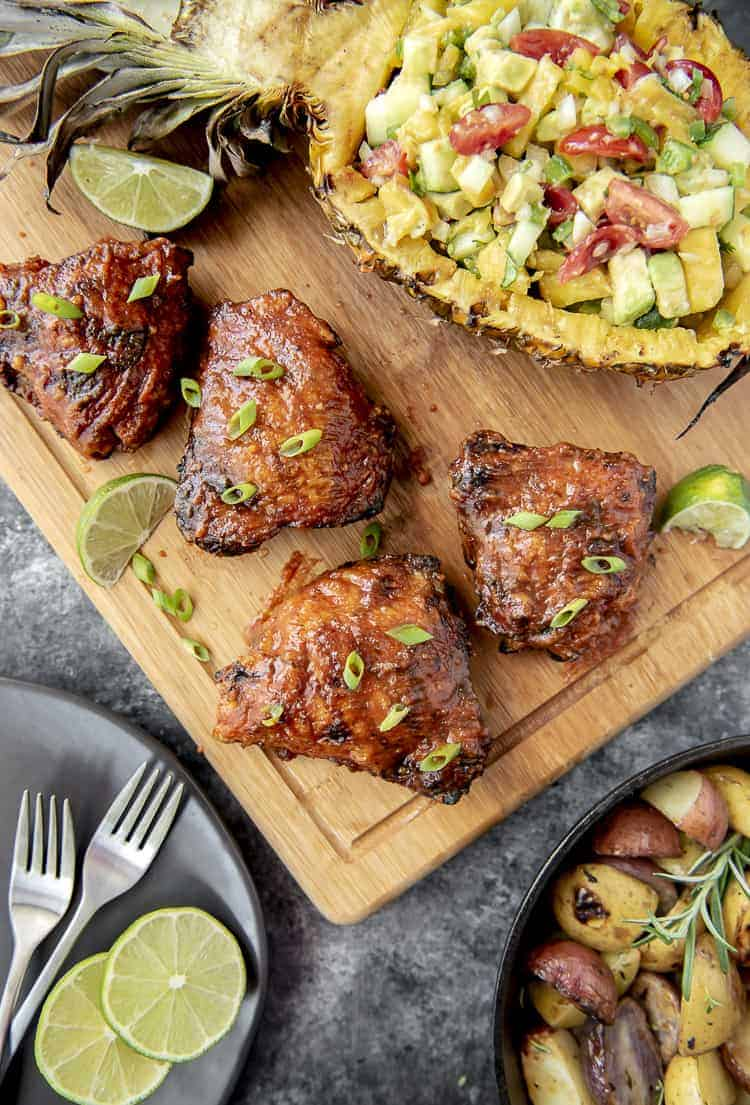 Sriracha Grilled Chicken Thighs with Pineapple Salsa