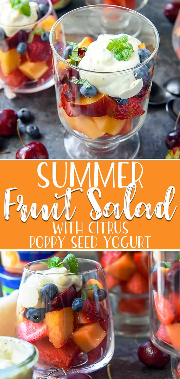 Whether it's a quick breakfast, simple side, or yummy snack, thisSummer Fruit Salad with Citrus Poppy Seed Yogurt is as tasty as it is refreshing. Melons, berries, peaches, and bing cherries are the stars here, but the orange-lime fruit salad dressing brings it all together into one must-eat summer recipe!