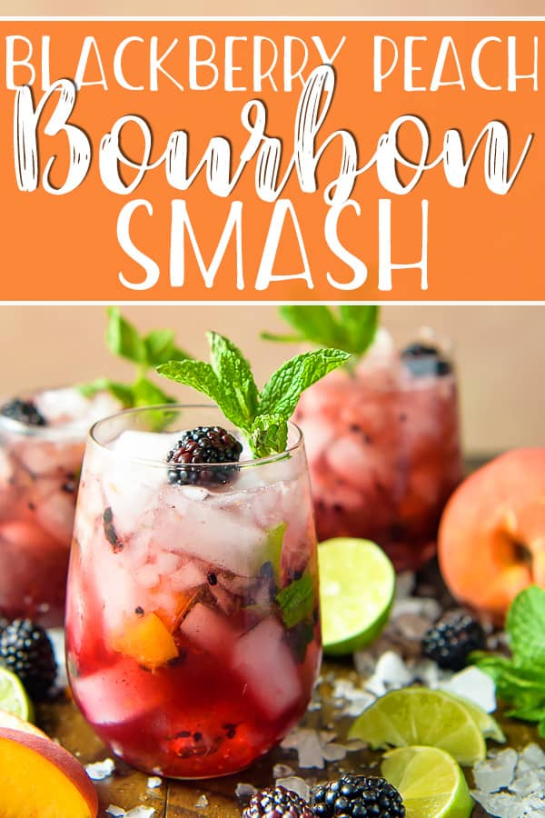Calling all bourbon lovers: thisBlackberry Peach Bourbon Smash is THE cocktail of the summer! Oaky bourbon whiskey teams up with fresh peaches, blackberries, mint, and lime juice for a fizzy refreshing sip you'll look forward to all winter long.