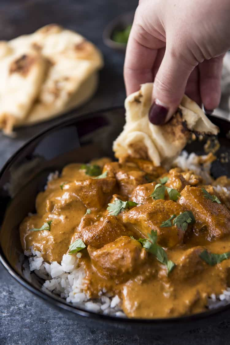 Chicken Tikka Masala with naan bread