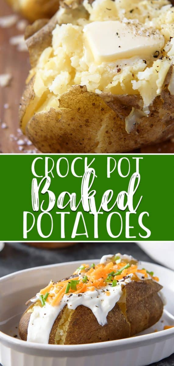 Fluffy, tender Crock Pot Baked Potatoes are the best way to enjoy these steakhouse classics! Baked potatoes are perfect for everything from outdoor summer dinners to involved holiday meals, and your slow cooker makes them even easier to enjoy by doing all the work.