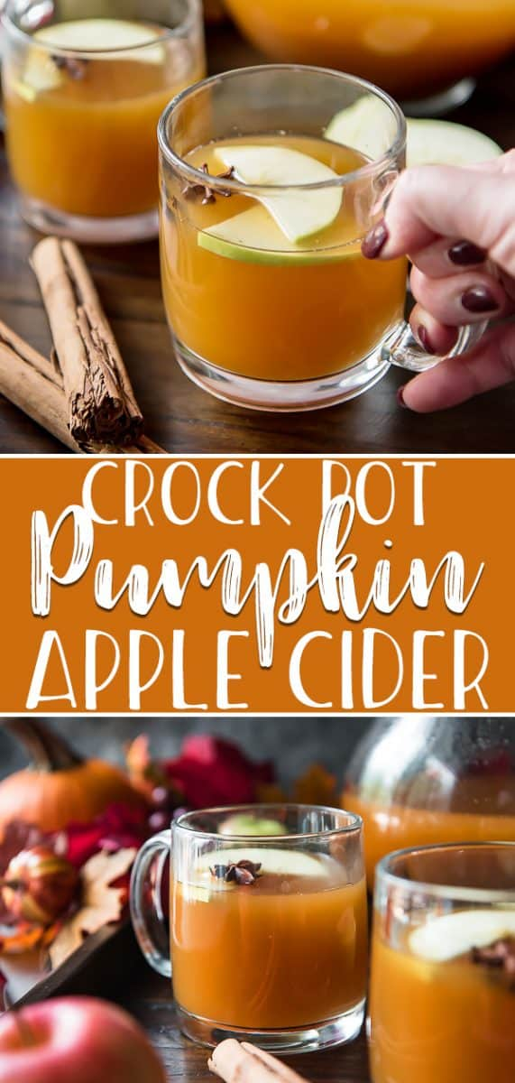 This easy Crock Pot Pumpkin Apple Cideris the ultimate fall drink, whether served hot or cold! Smooth, spicy apple cider is slow cooked with the comforting flavor of pumpkin, and makes your house smell like grandma's during the holidays!