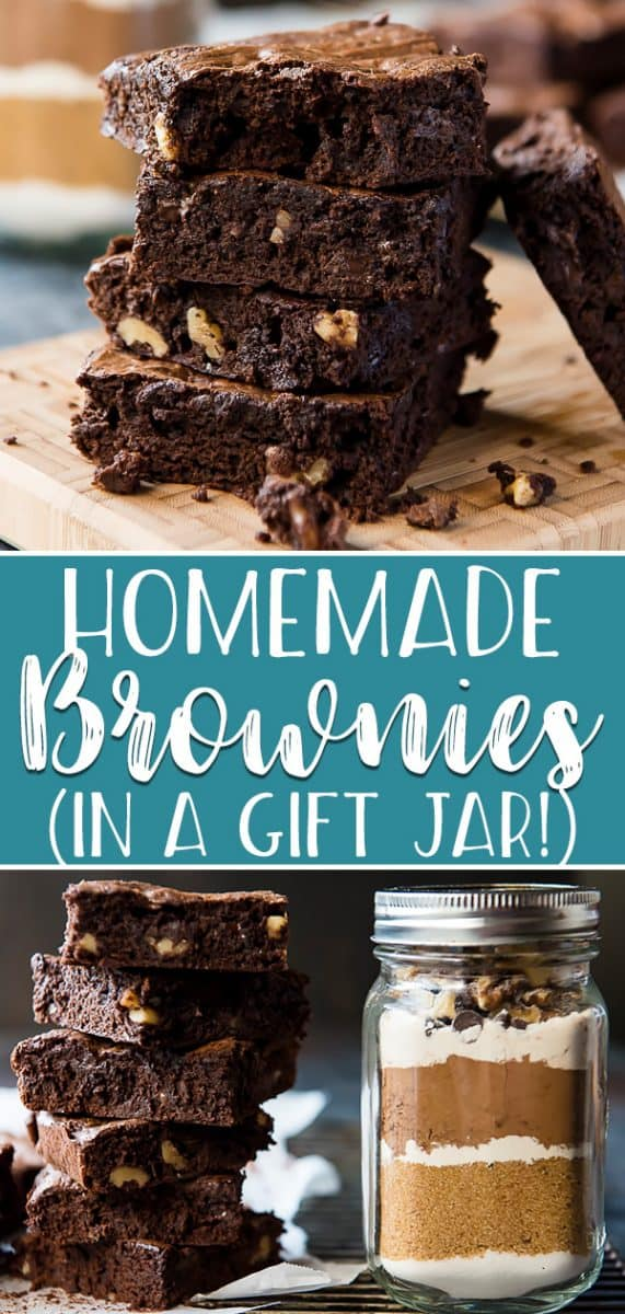 Once you've made a batch of Homemade Brownies, you'll never use a box mix again! The perfect blend of fudgy and cakey and jam-packed with chocolate, your family and friends will love receiving this one bowl brownie recipe (minus 3 ingredients!) in a gift jar for the holidays - or just because!