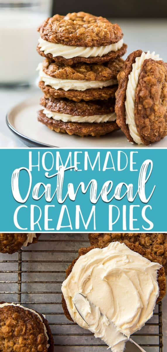 Soft, chewy, and loaded with memories of childhood, these Homemade Oatmeal Cream Pies are the ultimate snack for all ages! One bite of the spiced oatmeal cookies, sandwiched together with sweet & creamy buttercream frosting, and you'llforget all about Little Debbie!