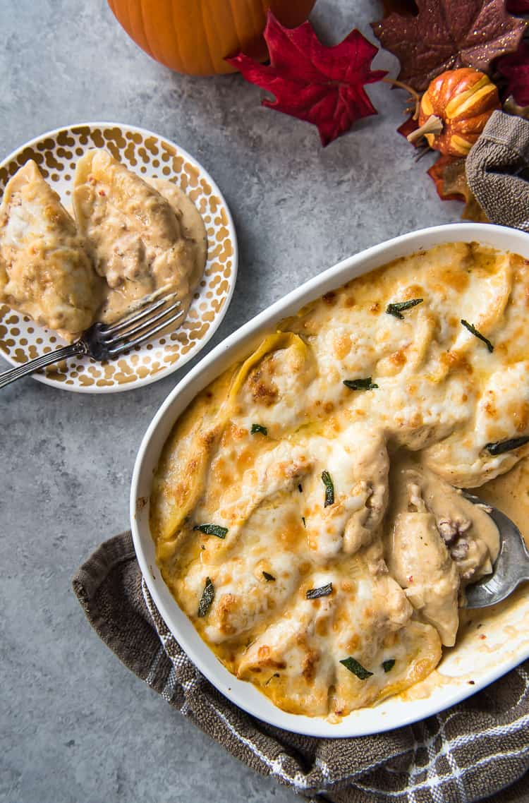 Pumpkin Alfredo Stuffed Shells