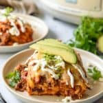 Slow Cooker Mexican Lasagna with tortillas & Barbacoa beef
