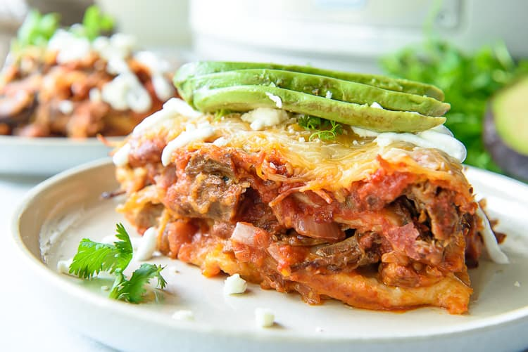 Slow Cooker Mexican Lasagna with Barbacoa