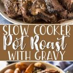 When that comfort food craving strikes, my Nana's easy Crock Pot Roast recipe should be on the menu! Twenty minutes of prep and a long day of slow cooking rewards you with tender, flavorful beef and vegetables and a delicious, already-thickened gravy you'll be eating by the spoonful!