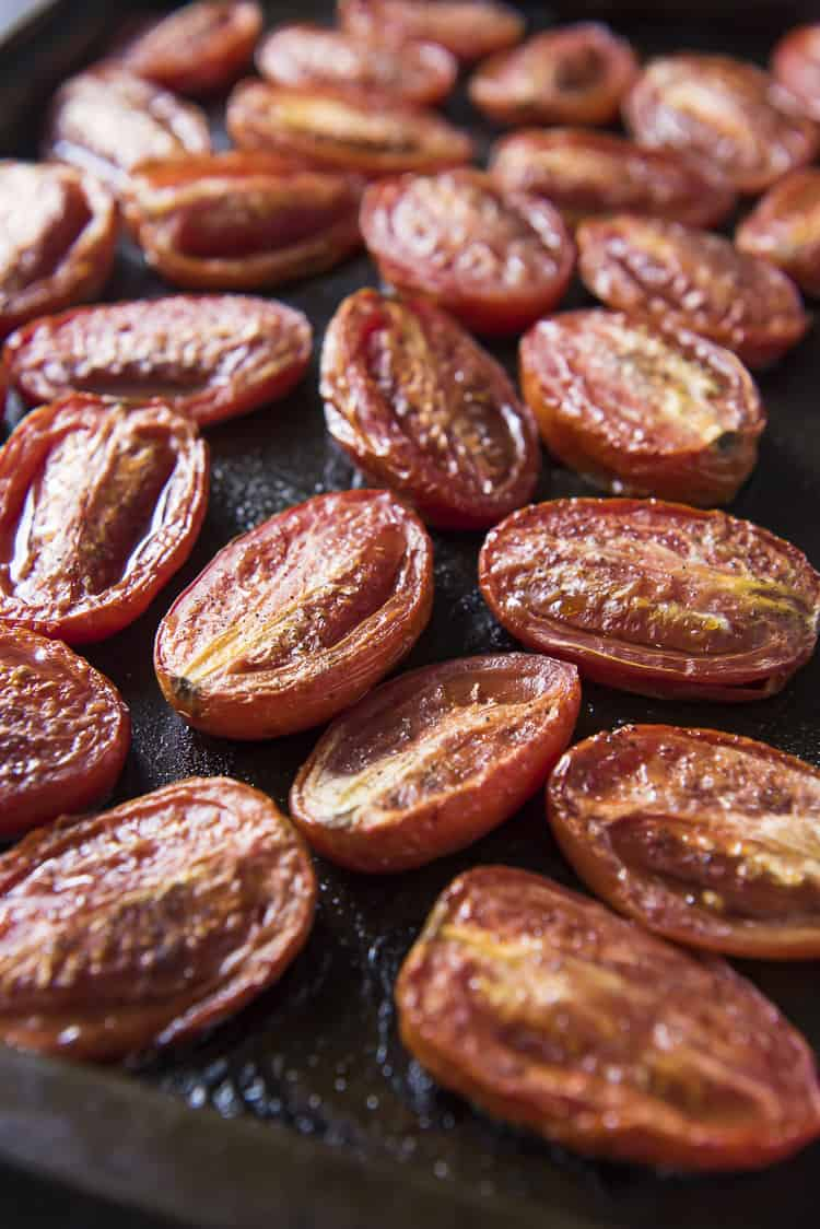 Roasted tomatoes going into Tomato Basil Soup
