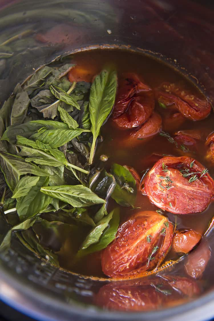 Ingredients for Roasted Tomato Basil Soup in Instapot