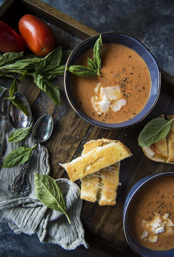 Instant Pot recipe for Roasted Tomato Basil Soup