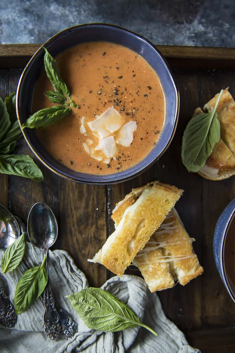Bowl of Creamy Tomato Basil Soup