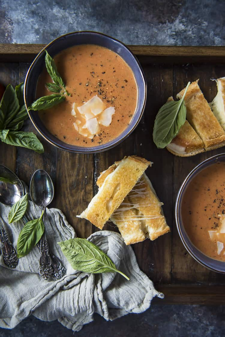 Grilled cheese and Instant Pot Roasted Tomato Basil Soup