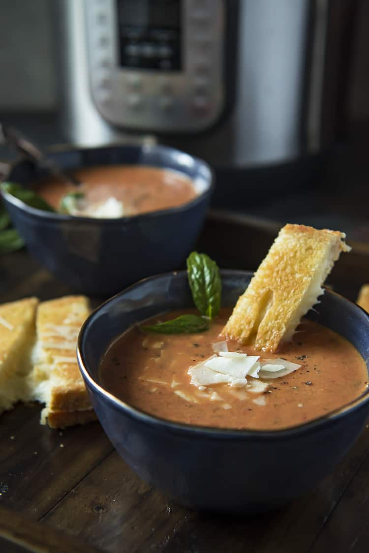 Homemade Tomato Basil Soup made in pressure cooker