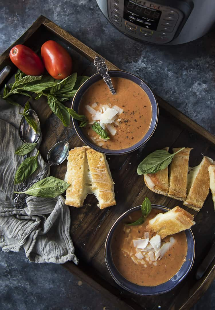 Instant Pot Roasted Tomato Basil Soup recipe