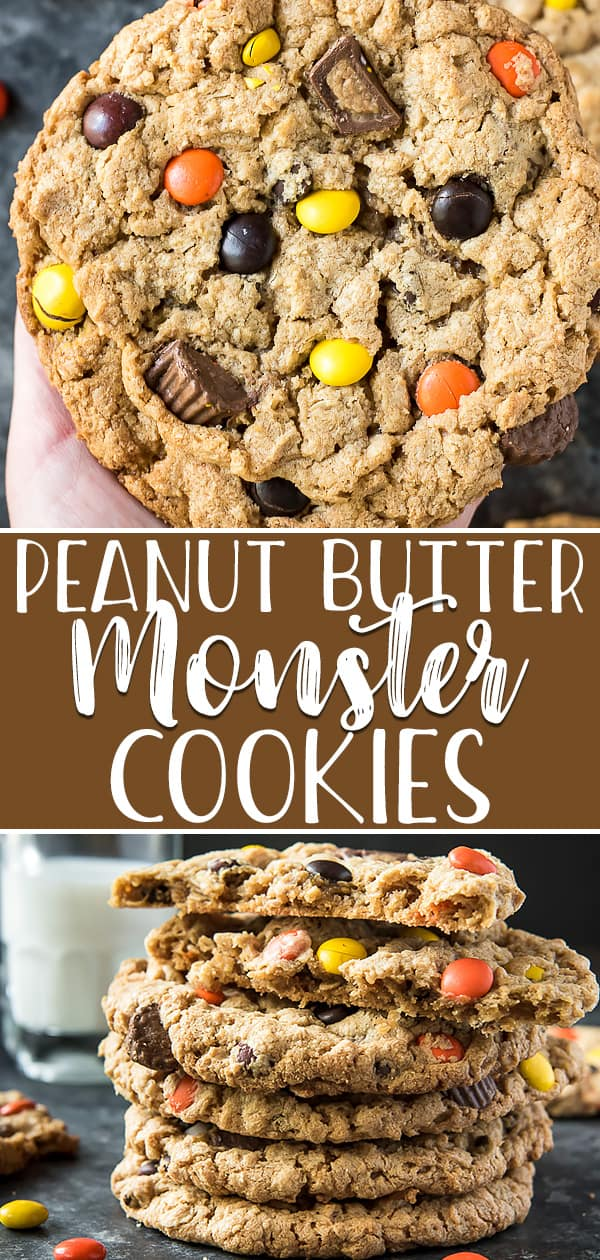 These Giant Monster Cookies are the best you'll ever try! Huge, chewy, and soft-baked, they are fully loaded with peanut butter cups, candies, and chocolate chips!