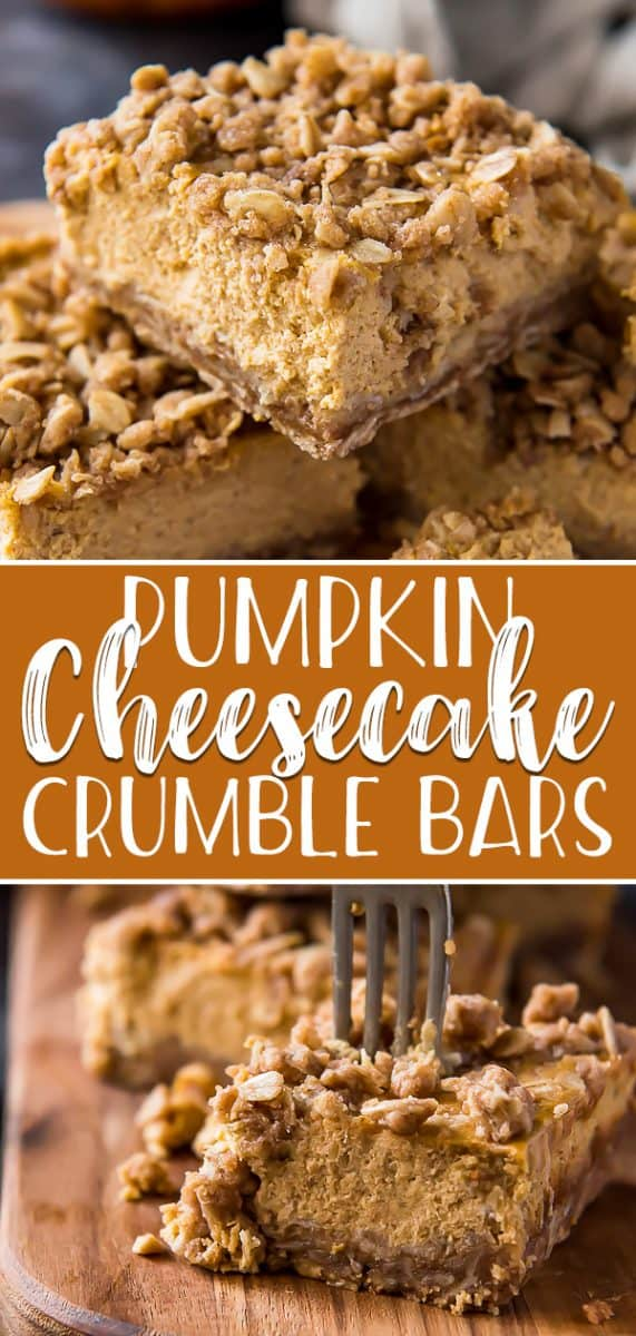 Delightful autumn flavors shine in these streusel-topped Pumpkin Cheesecake Bars! Creamy, smooth pumpkin cheesecake is baked in an oat-based crumble crust, then sprinkled with crunchy streusel - these bars might just be your new favorite fall dessert!