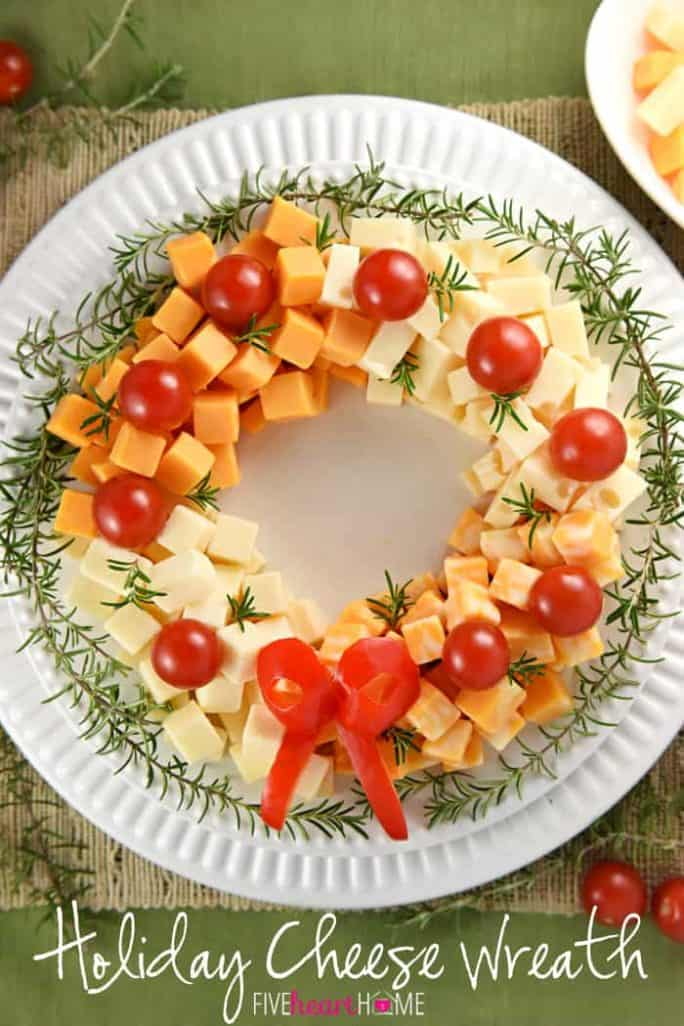 Holiday Cheese Wreath - 27 Easy Cheesy Holiday Party Appetizers - The Crumby Kitchen