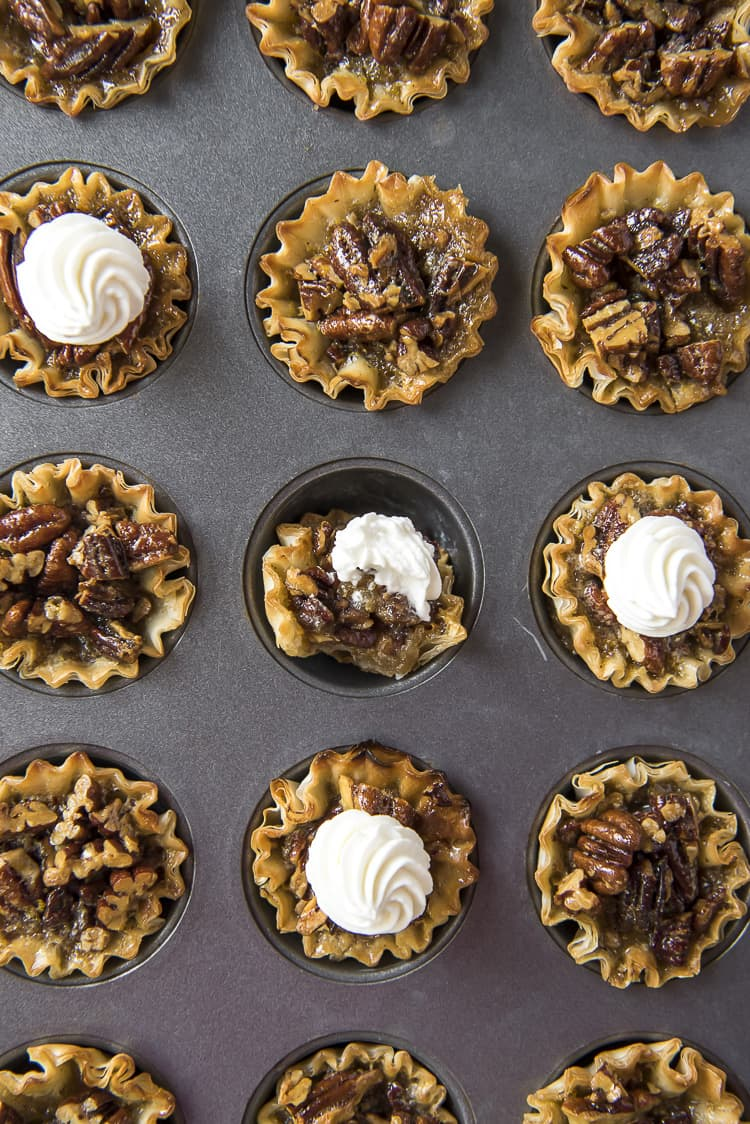 Pecan MIni Pies in a muffin tin