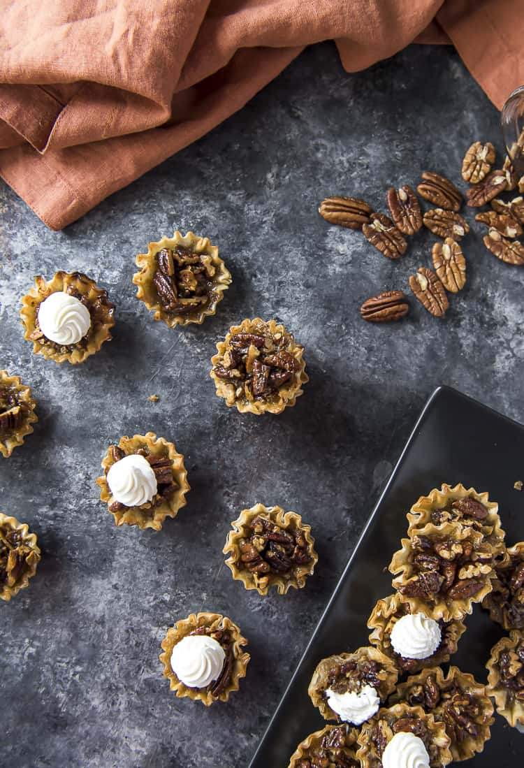 Mini Pecan Pies on a table