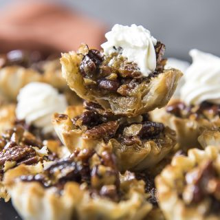 Mini Pecan Tarts with a bite taken out