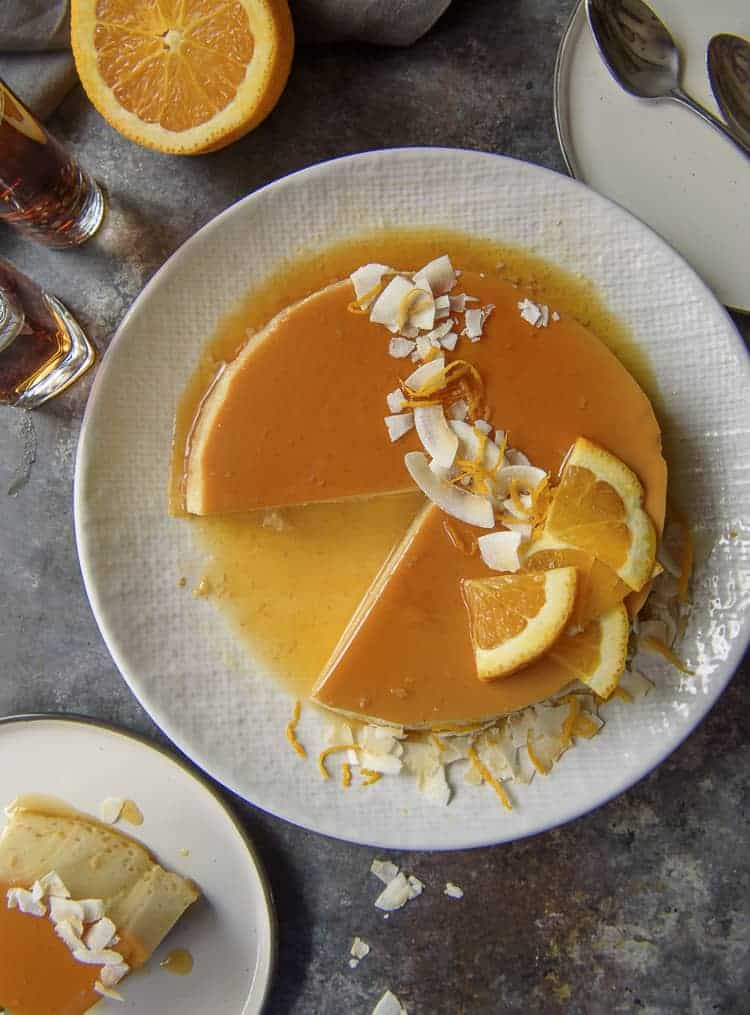 Orange Coconut Flan with slice removed