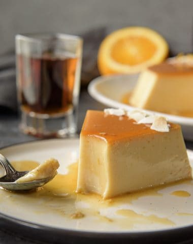 Orange Coconut Flan with bites missing
