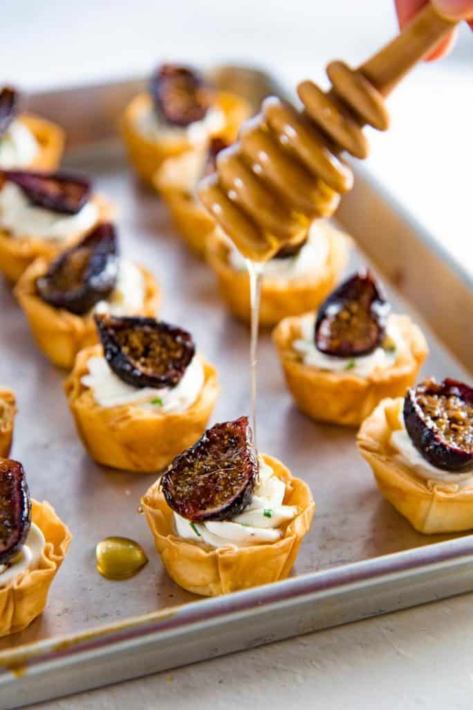 Goat Cheese & Roasted Fig Tartlets - 27 Easy Cheesy Holiday Party Appetizers - The Crumby Kitchen