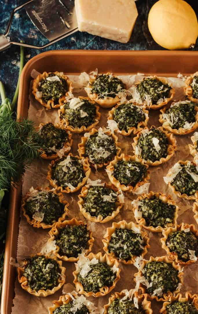 Spanokopita Bites - 27 Easy Cheesy Holiday Party Appetizers - The Crumby Kitchen