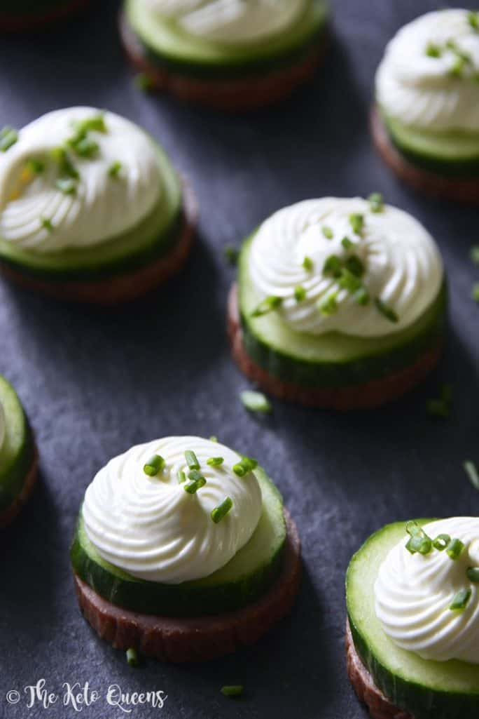 Keto Summer Sausage Cucumber BItes with Cream Cheese Mousse - 27 Easy Cheesy Holiday Party Appetizers - The Crumby Kitchen
