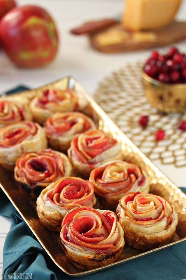 Apple Cranberry Gouda Puff Pastry Roses - 27 Easy Cheesy Holiday Party Appetizers - The Crumby Kitchen