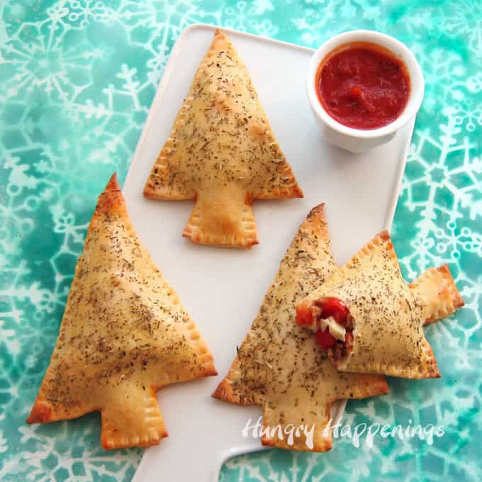 Calzone Christmas Trees - 27 Easy Cheesy Holiday Party Appetizers - The Crumby Kitchen