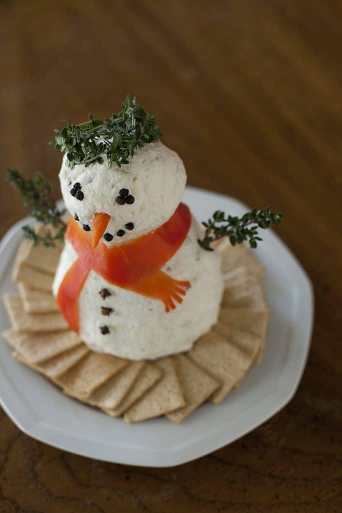 Christmas Cheeseball Snowman - 27 Easy Cheesy Holiday Party Appetizers - The Crumby Kitchen