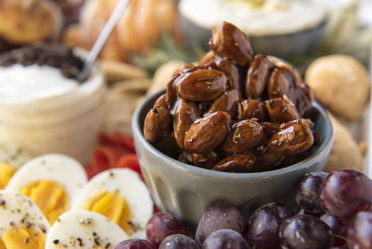 Candied almonds on a brunch charcuterie board