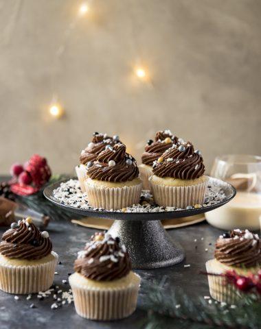 Chocolate Eggnog Cupcakes on a cake stand