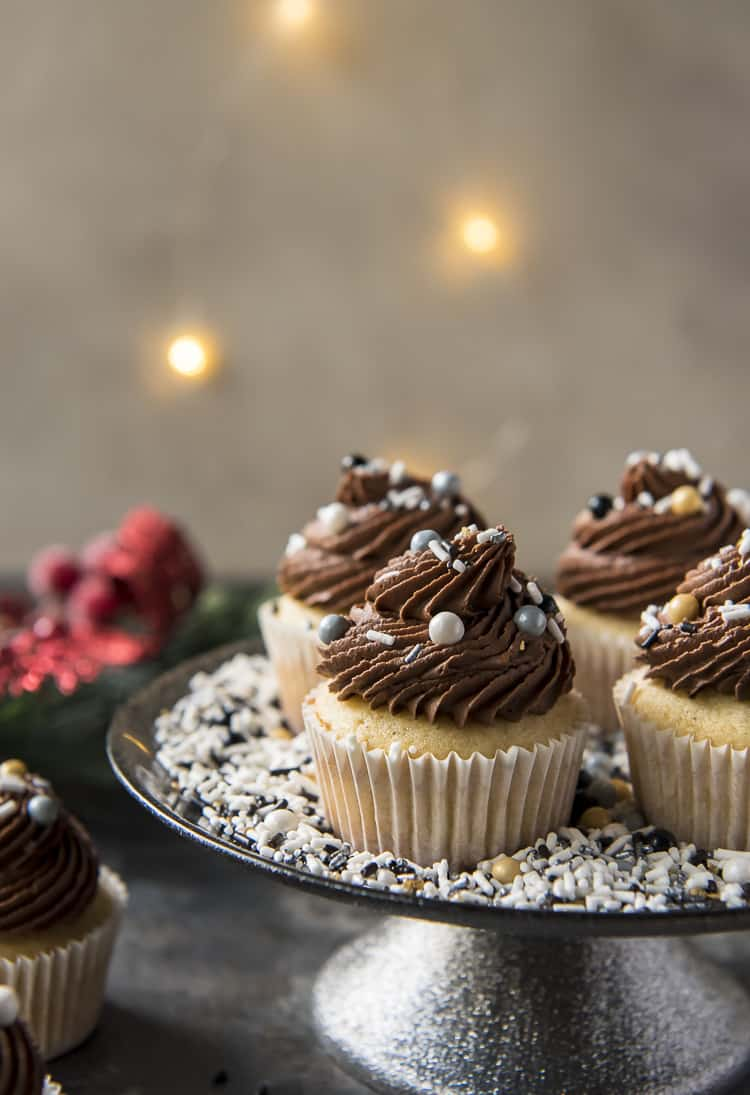 Chocolate Eggnog Cupcakes on a serving plate