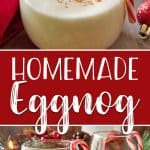 The store-bought stuff simply can't compete with a batch of this deliciously EASY Homemade Eggnog! Thick, creamy, and comforting, this eggnog recipe is perfect for spiking with your favorite liquor on those cold winter nights!