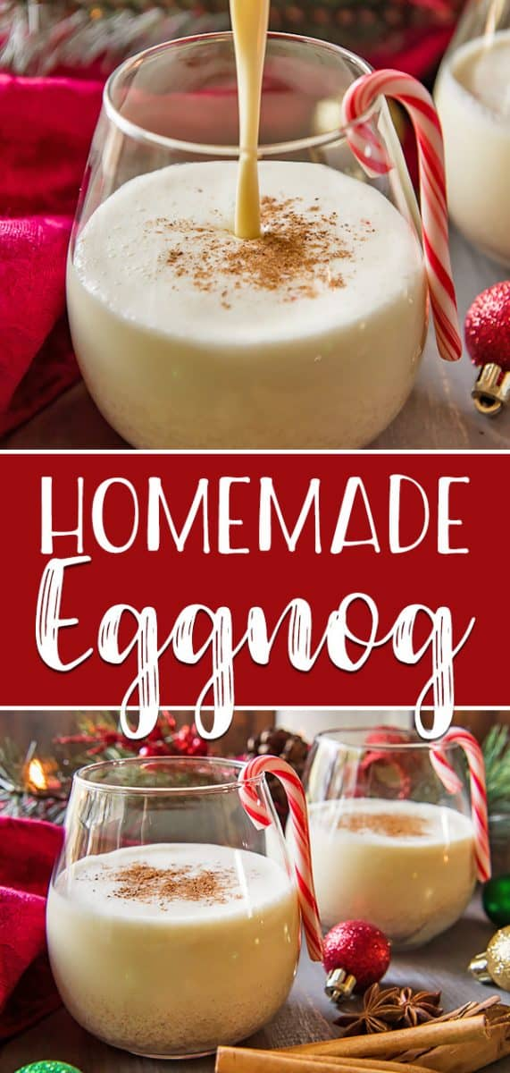 The store-bought stuff simply can't compete with a batch of this deliciously EASYHomemade Eggnog! Thick, creamy, and comforting, this eggnog recipe is perfect for spiking with your favorite liquor on those cold winter nights!