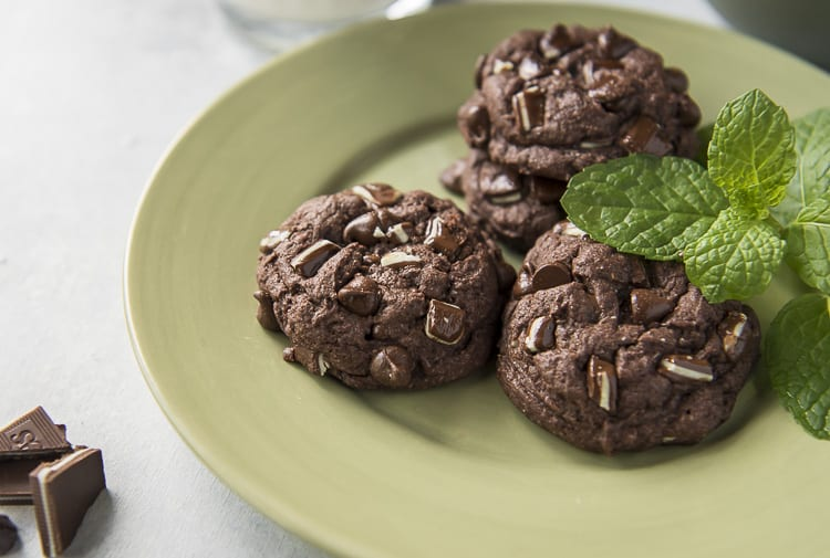 Plat of Mint Chocolate Chip Cake Mix Cookies