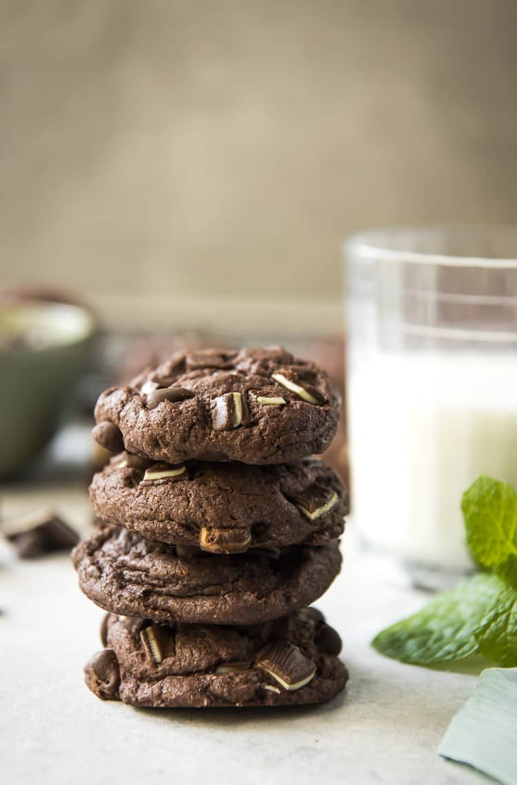 Mint Chocolate Chip Cake Mix Cookies and a glass of milk